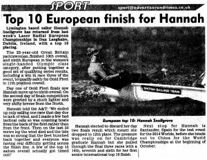 Top 10 European finish for Hannah